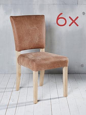 Fesselnd 6 Esszimmerstühle Leder Hellbraun Stuhlgruppe Essgruppe Sitzgruppe