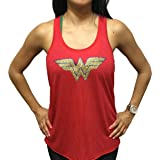 'Wonder Woman' Flowy Women's Tank Top - Red Glitter Polyester Blend Cover Up