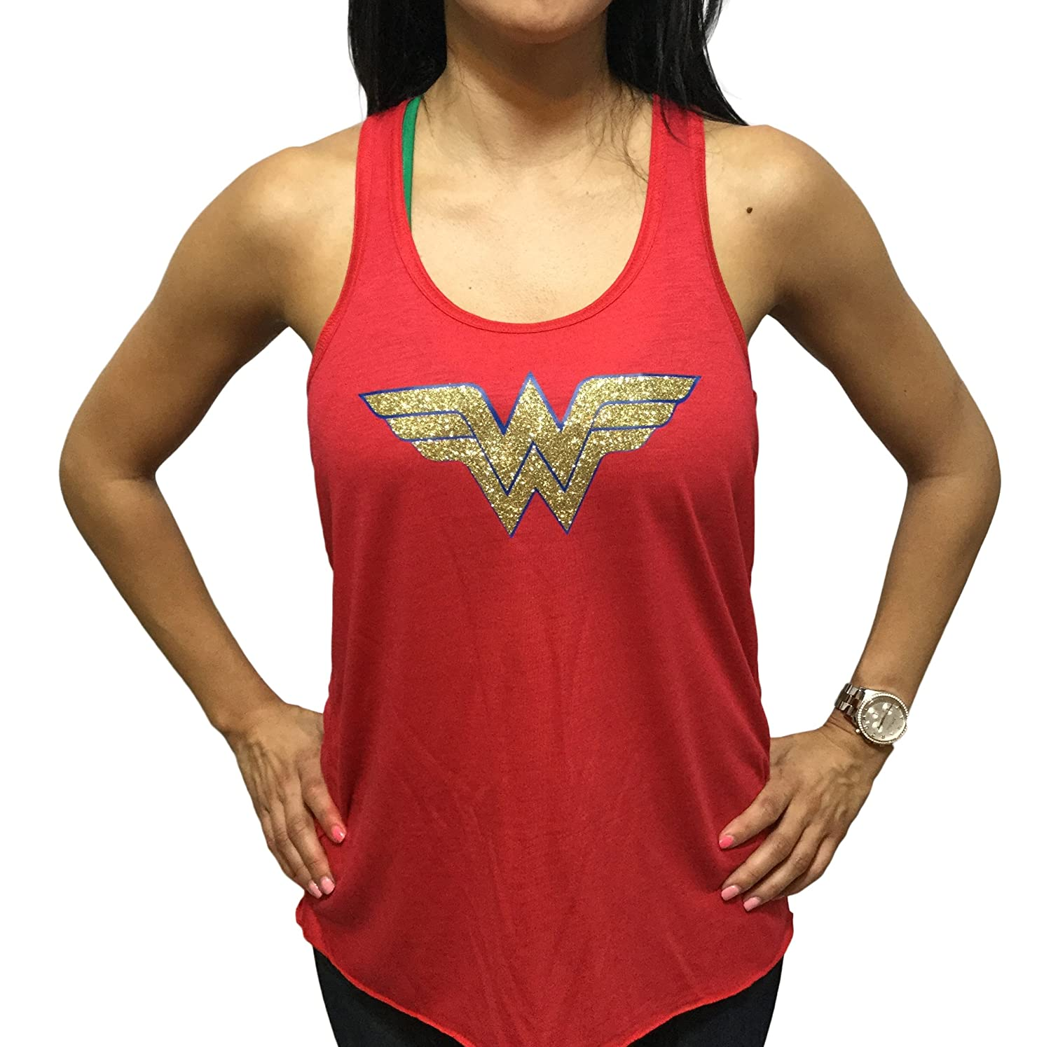 Devious Apparel Wonder Woman Flowy Womens Youth Tank Top Glitter Polyester Blend Cover Up