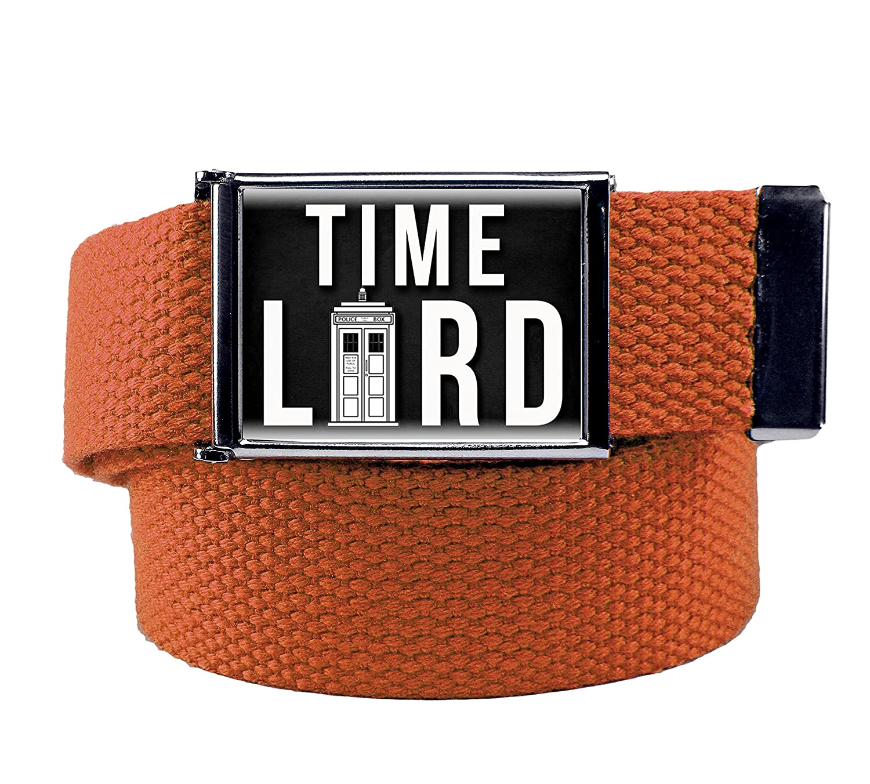 Time Lord Mens Flip Top Bottle Opener Belt Buckle with Canvas Web Belt XXX-Large Orange