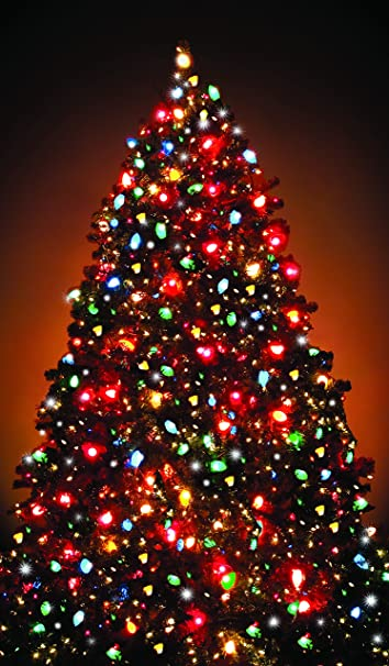 10 Foot King Flock Artificial Christmas Tree with 1250 Warm White ...