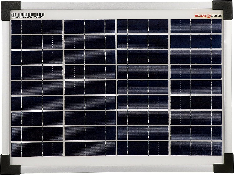 enjoysolar® Panel solar policristalino de alta calidad, 12 V, módulo solar, células fotovoltaicas (10 W)