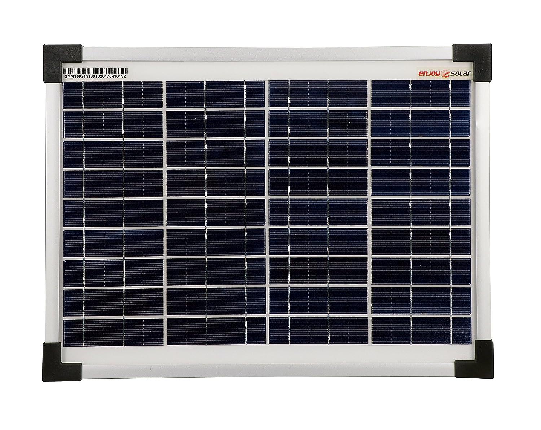 enjoysolar® Polykristallin 10Watt 12V Solarmodul Solarpanel Poly 10W ideal für Garten CampingCaravan SolarV®