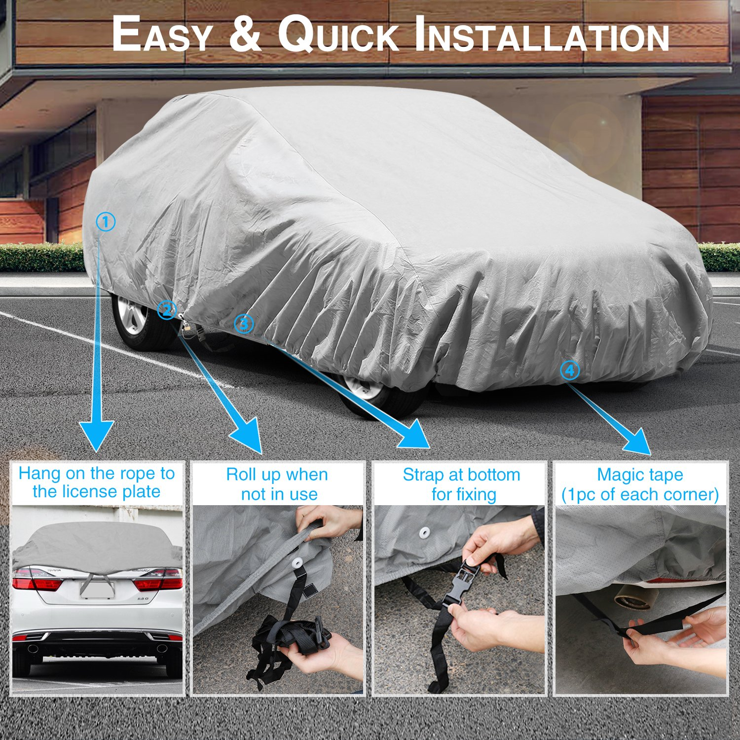 Kakit 6 Layers Car Cover Waterproof Windproof All Wiring Diagram For 1963 Ford Thunderbird Convertible Top Weather Snow Covers Summer Outdoor Sedan Auto Automobiles
