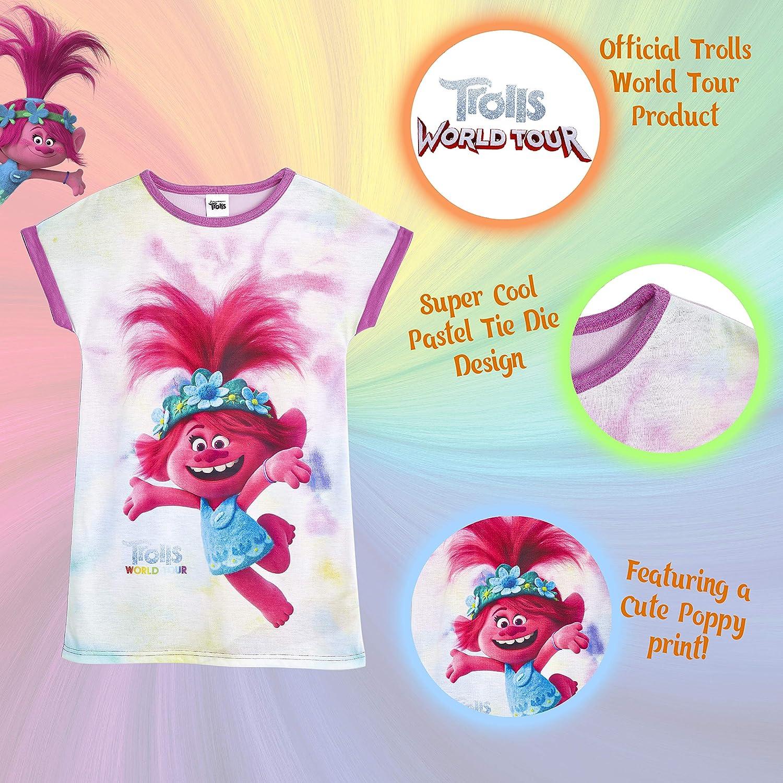 Produit Officiel des V/êtement Enfant Fille Id/ée Cadeau Anniversaire Fille Trolls Chemise De Nuit Enfant Fille Imprim/é Poppy de 2 Tourn/ée Mondiale Pyjama 3-12 Ans