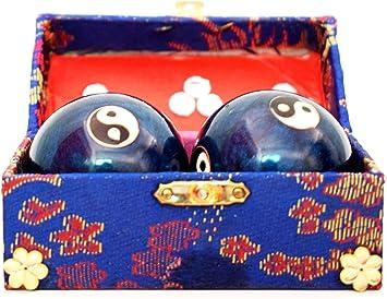 Holy Krishna FENGSHUI Blue Yin Yang Chinese Health Iron Balls (1.8 Inhes)+ Free Laxmi ATM Yantra Free: Amazon.es: Hogar