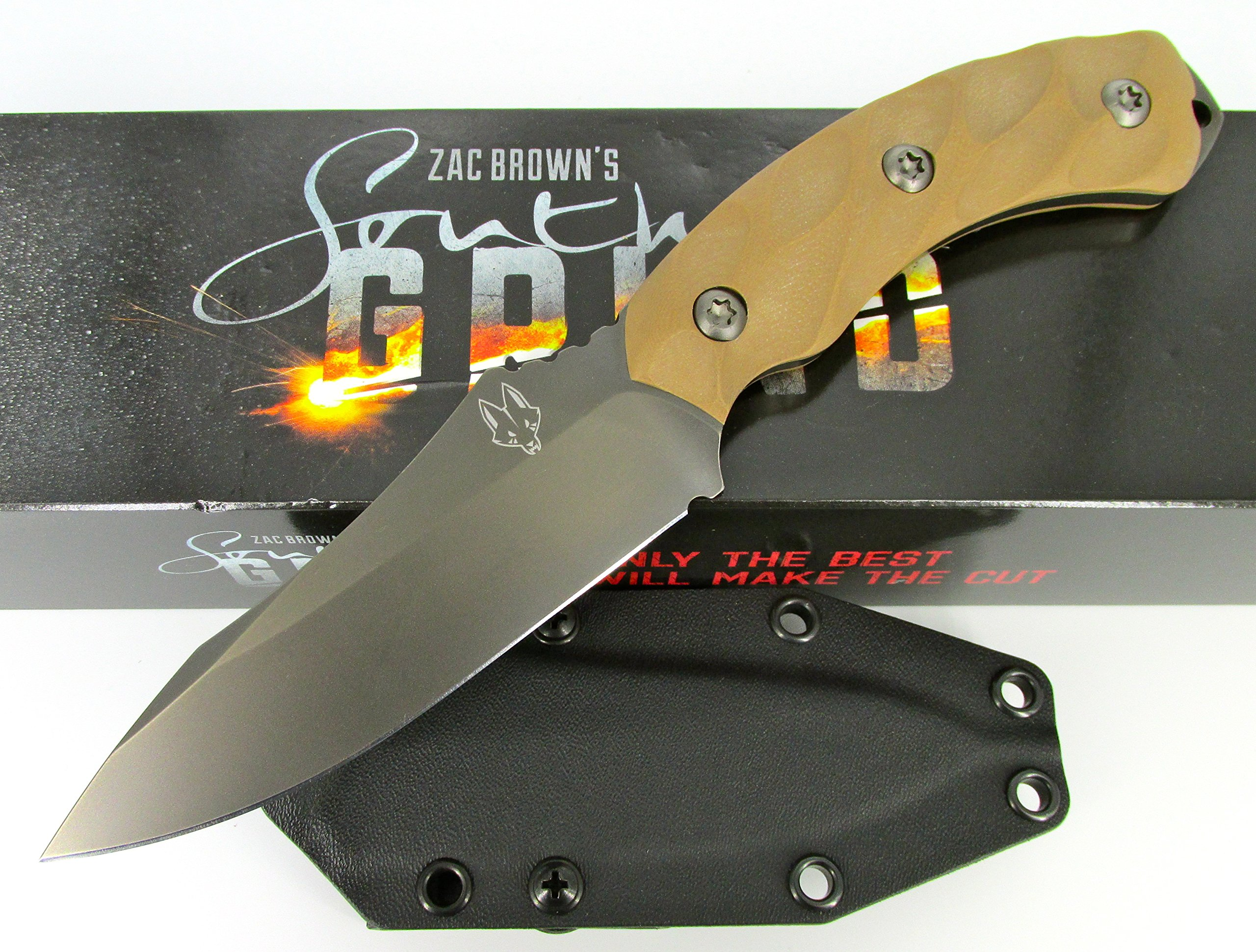 Southern Grind Jackal Fixed Blade Knife Gunmetal Black Blade Tan G10 Handle by Southern Grind