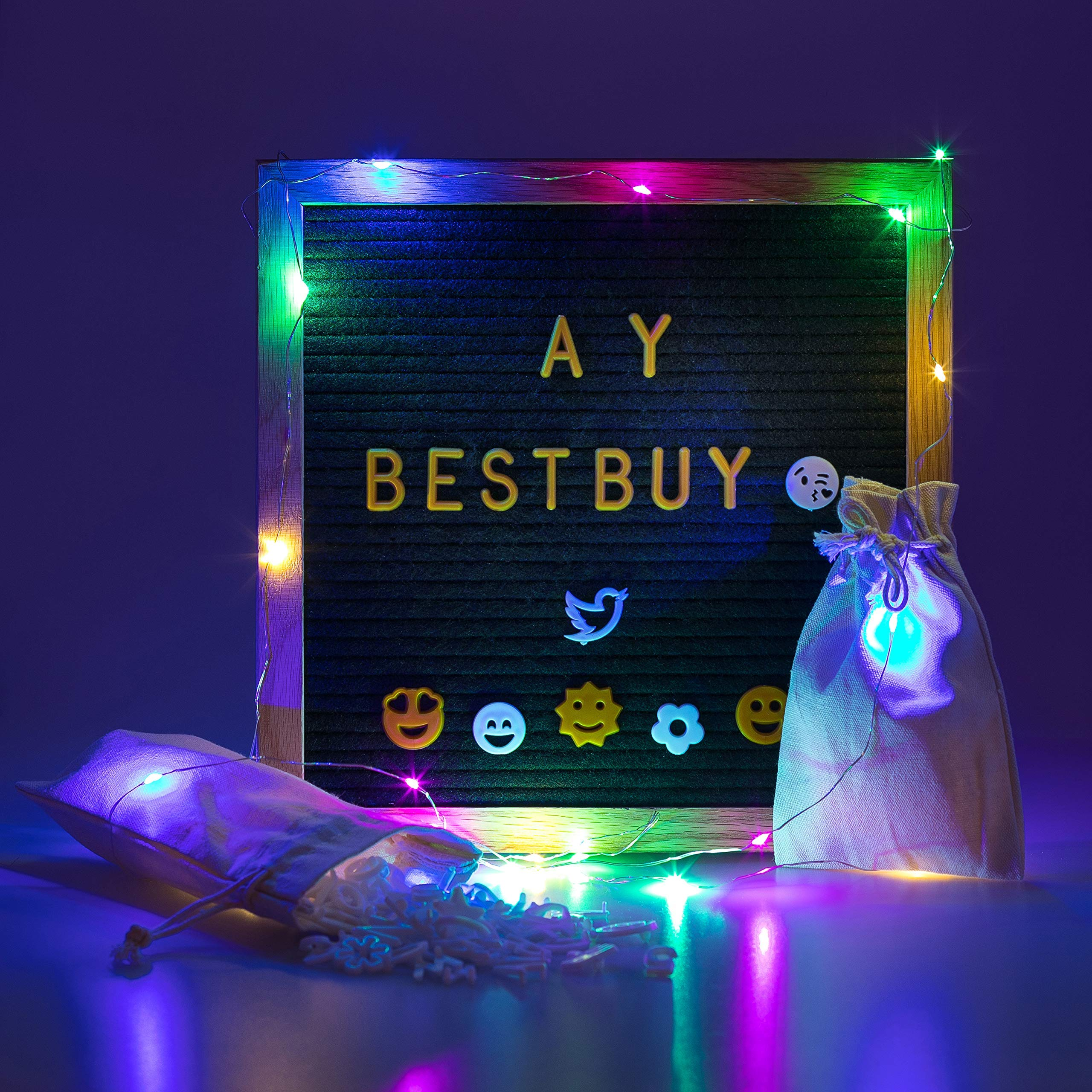 Letter Board 10x10 Inch – Black Felt Message Board with+500 White & Gold Letters, Emojis, Social Media Icons – Changeable Display Wall Decor + Free LED Balloon & Multicolor String Lights by AyBestbuy