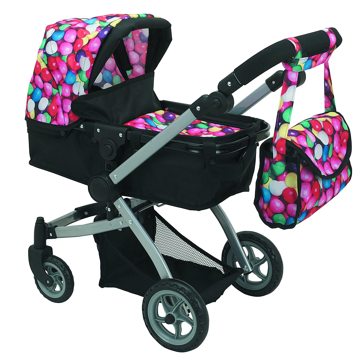 Babyboo Deluxe Doll Pram Color Gumball & Black with Swiveling Wheels & Adjustable Handle and Free Carriage Bag - 9651B   B01FE9PQVO