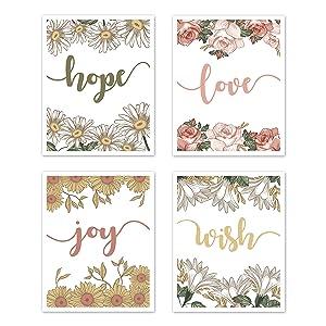 Sweet Jojo Designs Vintage Floral Boho Wall Art Prints Room Decor for Baby, Nursery, and Kids - Set of 4 - Blush Pink, Yellow, Green, White Shabby Chic Rose Flower Farmhouse Hope Love Joy Wish
