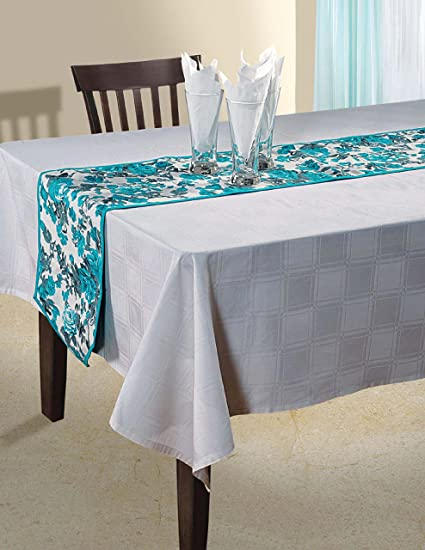 ShalinIndia Indian Floral Duck Cotton Table Runner   13 X 72 Inches    Turquoise Blue,