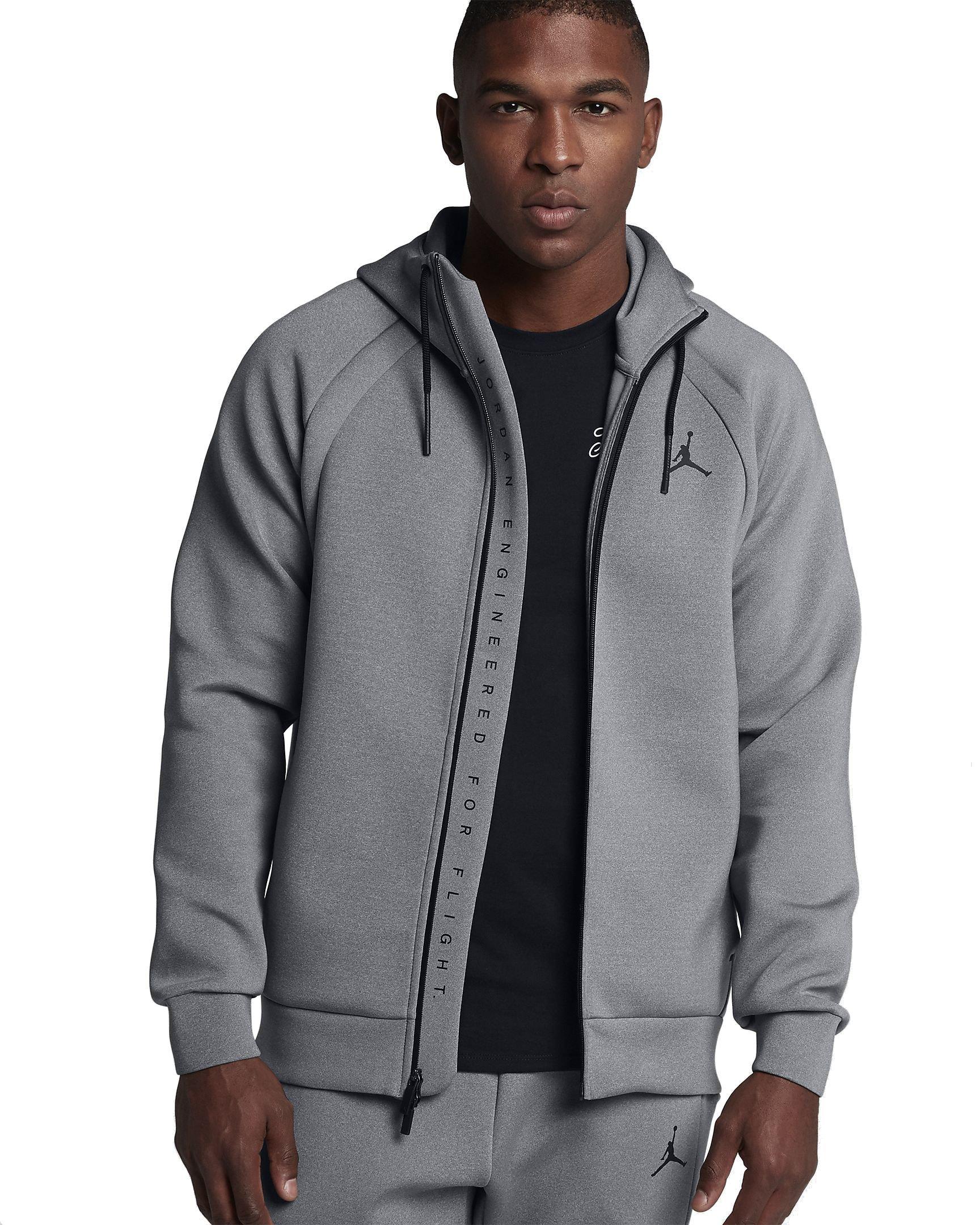 Nike Mens Jordan Flight Tech Fleece Full-Zip Hoodie - Carbon Heather/Black (Large)
