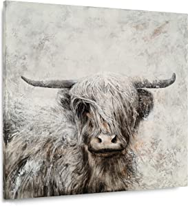 Yihui Arts Highland Cow Canvas Wall Art Hand Painted Lovely Wild Animal Oil Paintings Grey and White Pictures Yak Artwork for Farmhouse Living Room Bedroom Bathroom Decoration