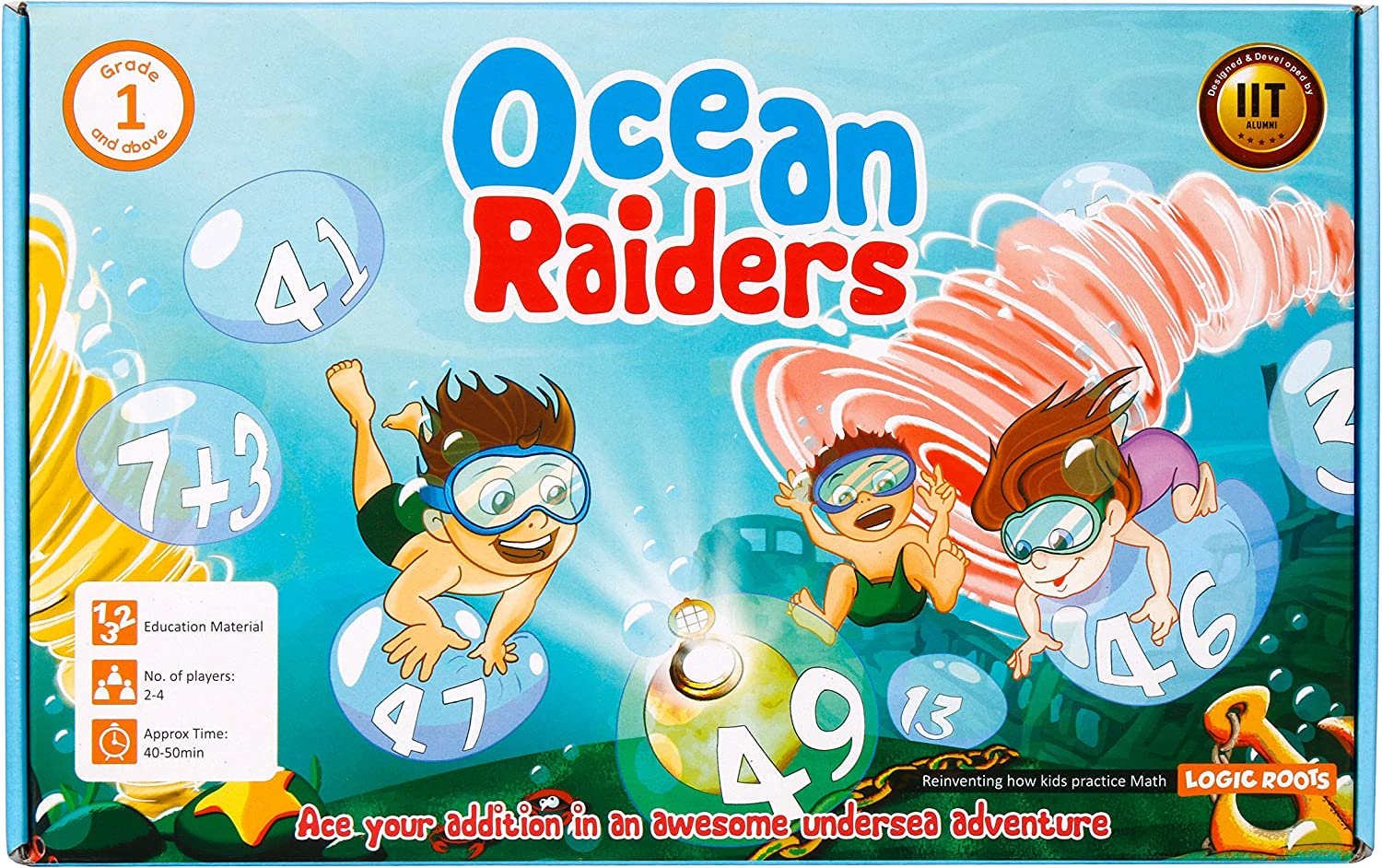 Logic Roots Math Board Game OCEAN RAIDERS for Kids of Grade 1 and Above to Master Addition: Amazon.es: Juguetes y juegos