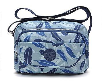 147384f8f0391 tuokener Crossover Tasche Nylon Damen Schultertaschen Umhängetaschen  Handtasche Viele Fächer Wasser-Beständige(Blau)