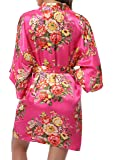 1stmall Floral Satin Kimono Short Style Bridesmaids