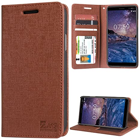 best service d4a24 41621 DMG Leather Flip Cover for Nokia 7 Plus, Wallet Flip Cover Stand Case for  Nokia 7 Plus (Textured ID Brown)