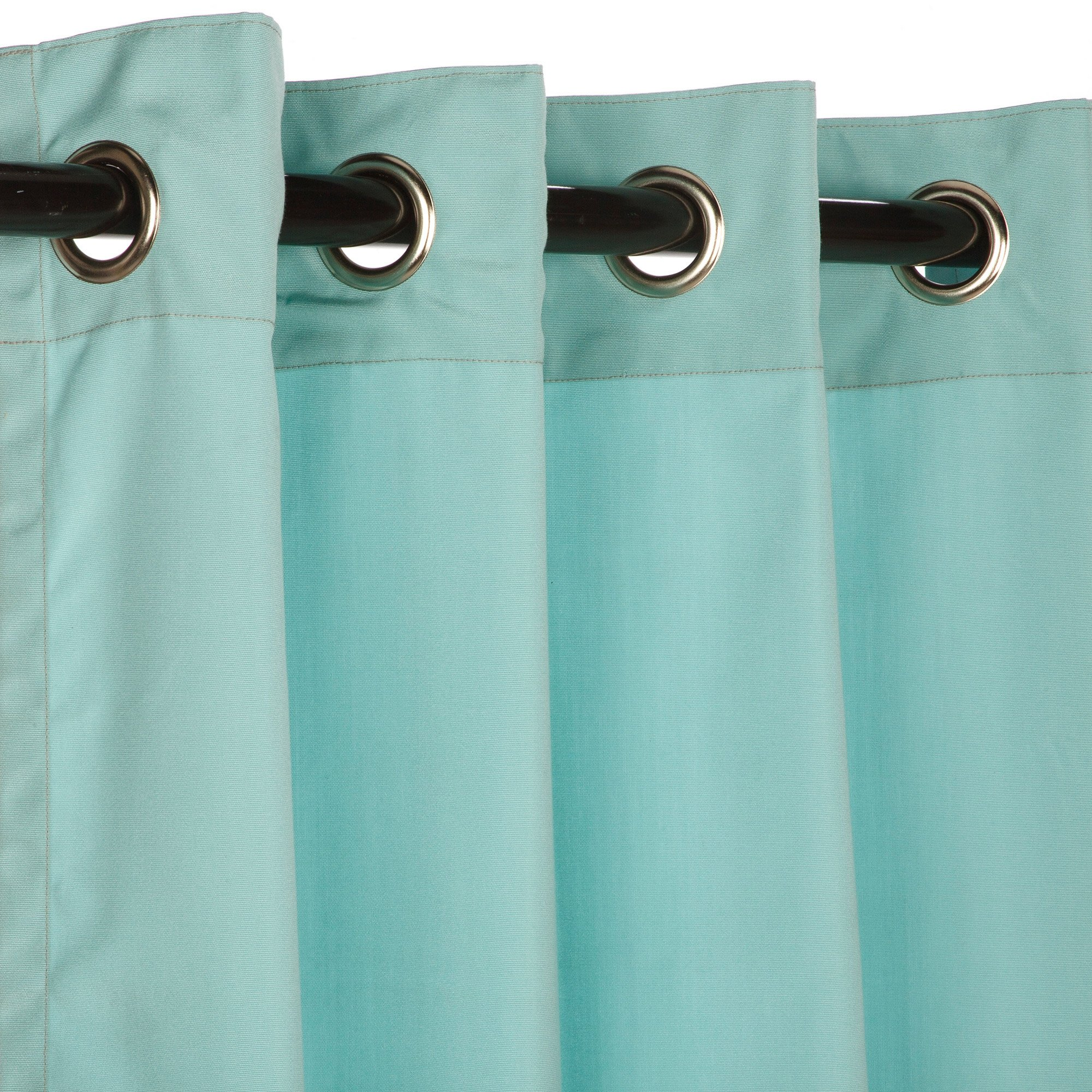 Sunbrella Outdoor Curtain with Nickle Grommets - Canvas Glacier, 50x108 by Sunbrella