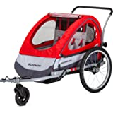 Schwinn Joyrider, Echo, and Trailblazer Bike Trailer for Toddlers, Kids, Single and Double Baby Carrier, 2-in-1 Canopy…