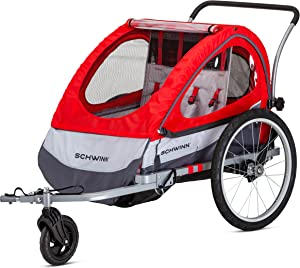 Schwinn Joyrider, Echo, and Trailblazer Bike Trailer for Toddlers, Kids, Single and Double Baby Carrier, 2-in-1 Canopy, Universal Coupler, 16-20-inch Wheels