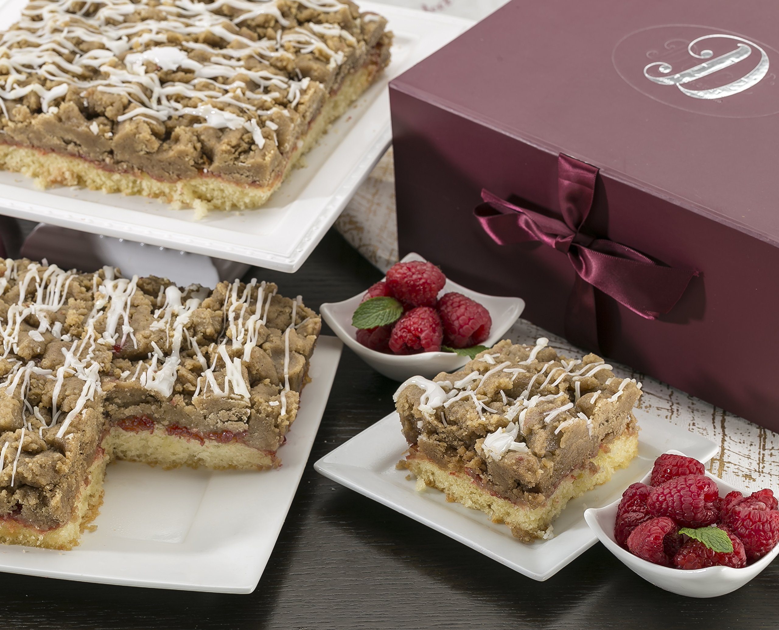 Dulcet Scrumptious Raspberry Crumb Cake- Top Gift Basket for Men and Women. Unique and Tasty and Great Gift Idea for Friends and Family or Office Gatherings! Includes 2 Boxes of Crumb Cakes (8''x8'')
