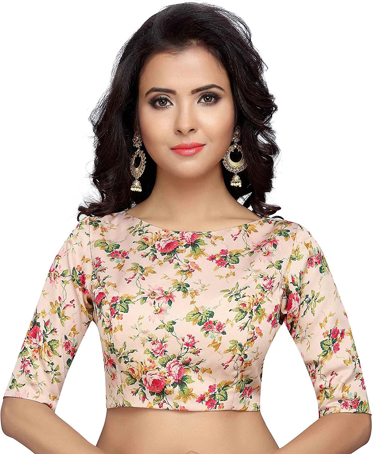 Pink Color Designer Boat Neck Readymade saree blouseFloral Embroidery Party Wear Readymade blouse