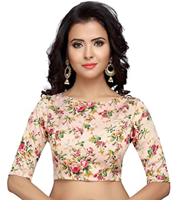 213e1b67fab Studio Shringaar Women s Poly Satin Silk English Floral Print Stitched  Saree Blouse with Boat Neck and