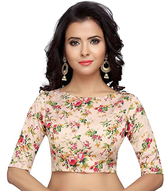 enjoy complimentary shipping top quality exclusive deals Studio Shringaar Women's Poly Satin Floral Print Readymade Blouse for Saree  with Boat Neck and Elbow Length Sleeves