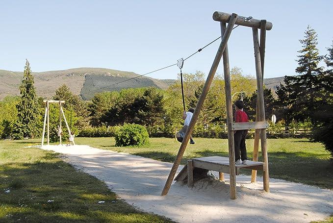 Kidunivers Juego de tirolesa 20 m, homologado estuco en madera maciza Dès 5 años: Amazon.es: Jardín