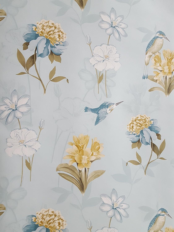 Grey Blue Holden Phoebe Birds Wallpaper Room Decor Pink Cream White Teal Jolash Pl