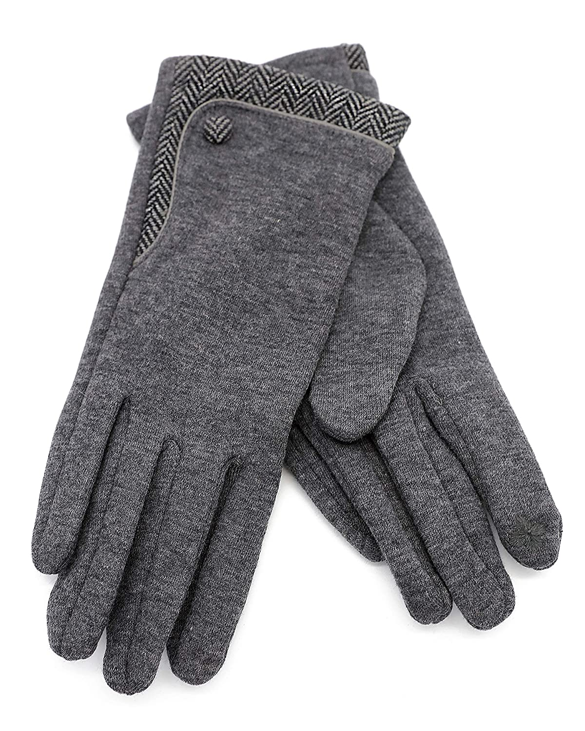 Texting Gloves With A Button(GV084) (GRAY)