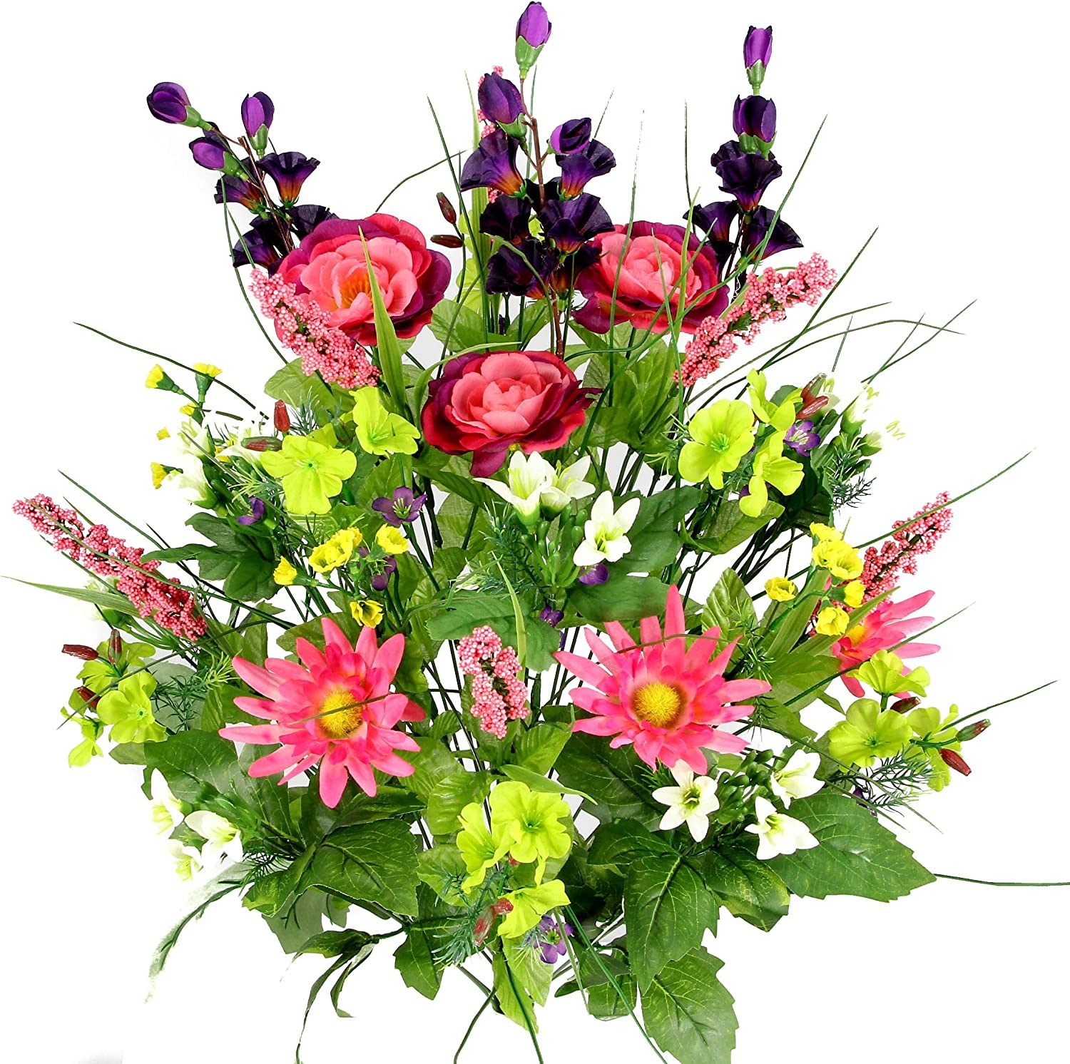 Admired By Nature, Artificial Flower Bush, Dahlia, Morning Glory, Faux Ranunculus, Garden Mix