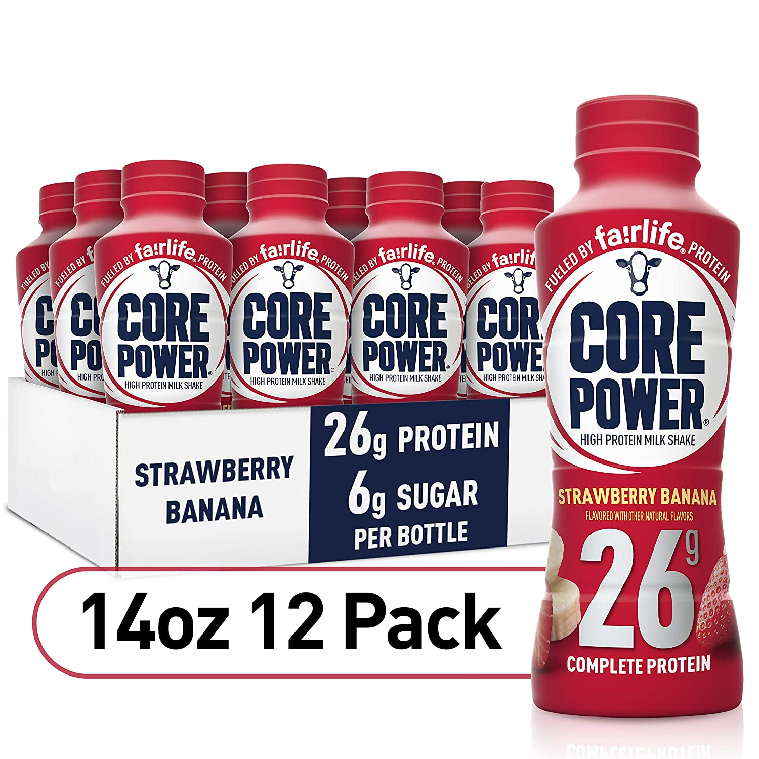 Core Power fairlife Core Power High Protein Milk Shake, Strawberry banana, 14 Fl Oz (Pack of 12)