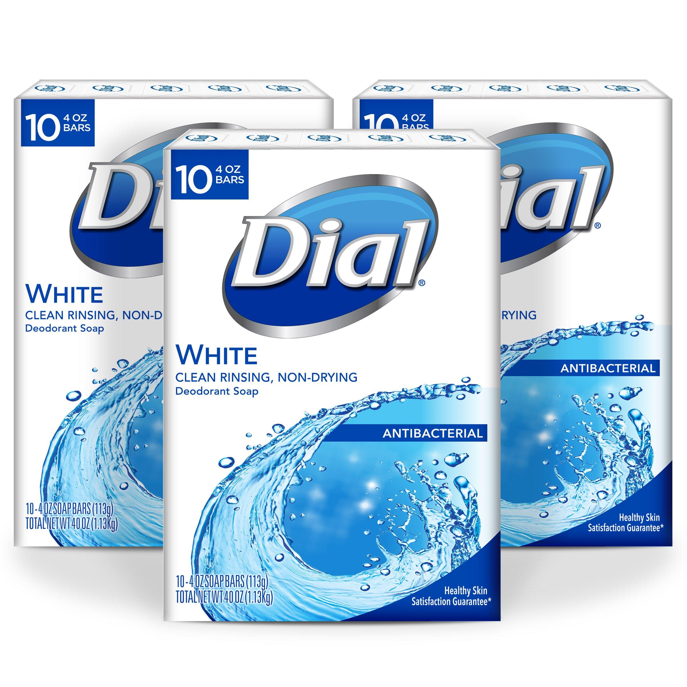 Dial Antibacterial Bar Soap, White, 4 Ounce, 30 Bars