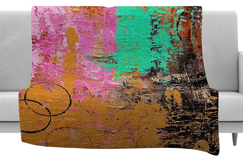 40 x 30 Fleece Blanket Kess InHouse Geordanna Fields Kala II Gold Pink Abstract Throw
