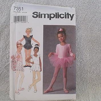 Simplicity Schnittmuster 7351 Kindes Balletttrikot, Röcke, Tutu ...