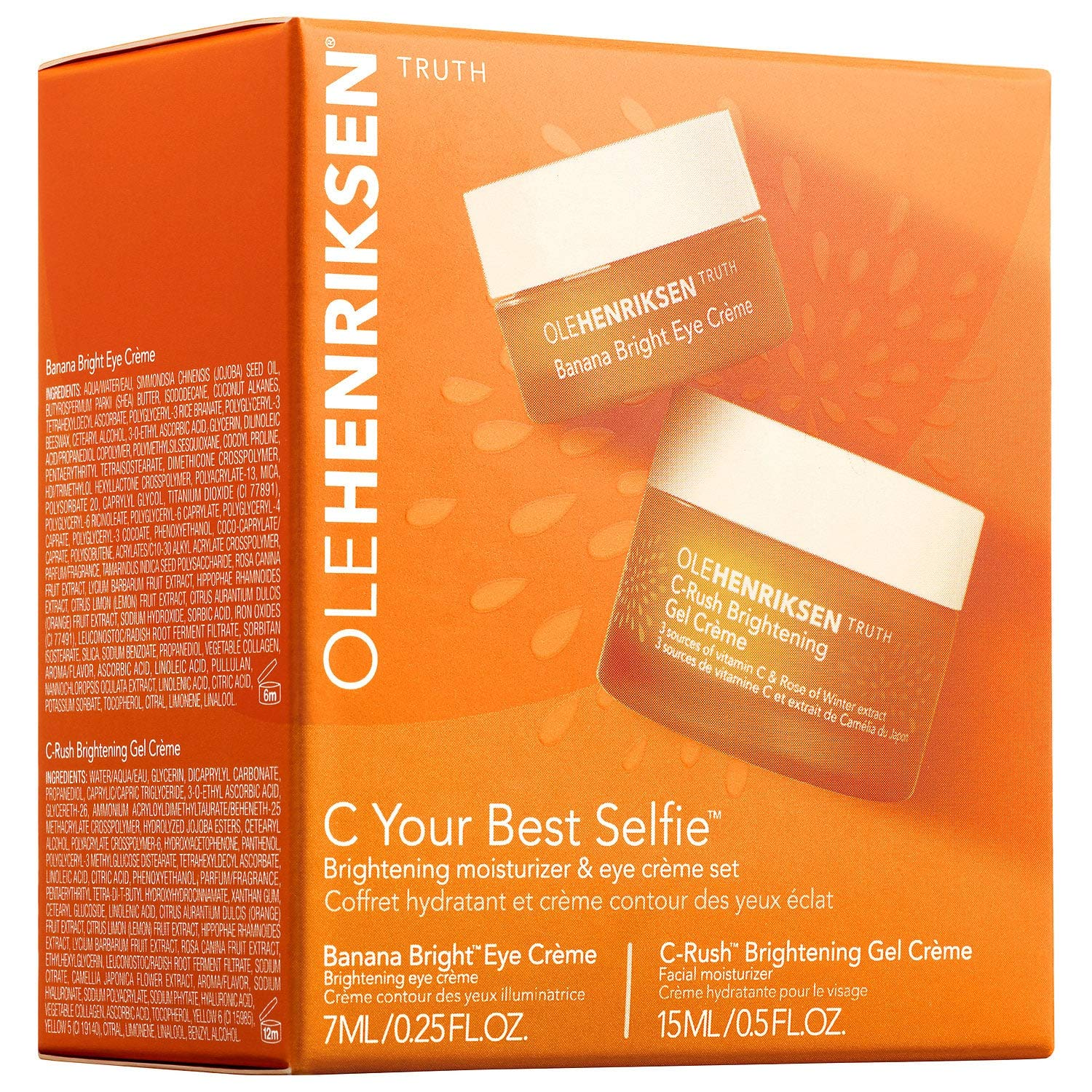 OLEHENRIKSEN C Your Best Selfie Brightening Moisturizer & Eye Crème Set 0.5 oz/ 15 mL C-Rush Brightening Gel Crème AND 7 mL Banana Bright Eye Crème: Beauty