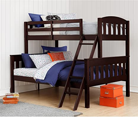 Amazon Com Dorel Living Airlie Solid Wood Bunk Beds Twin Over Full With Ladder And Guard Rail Espresso Furniture Decor
