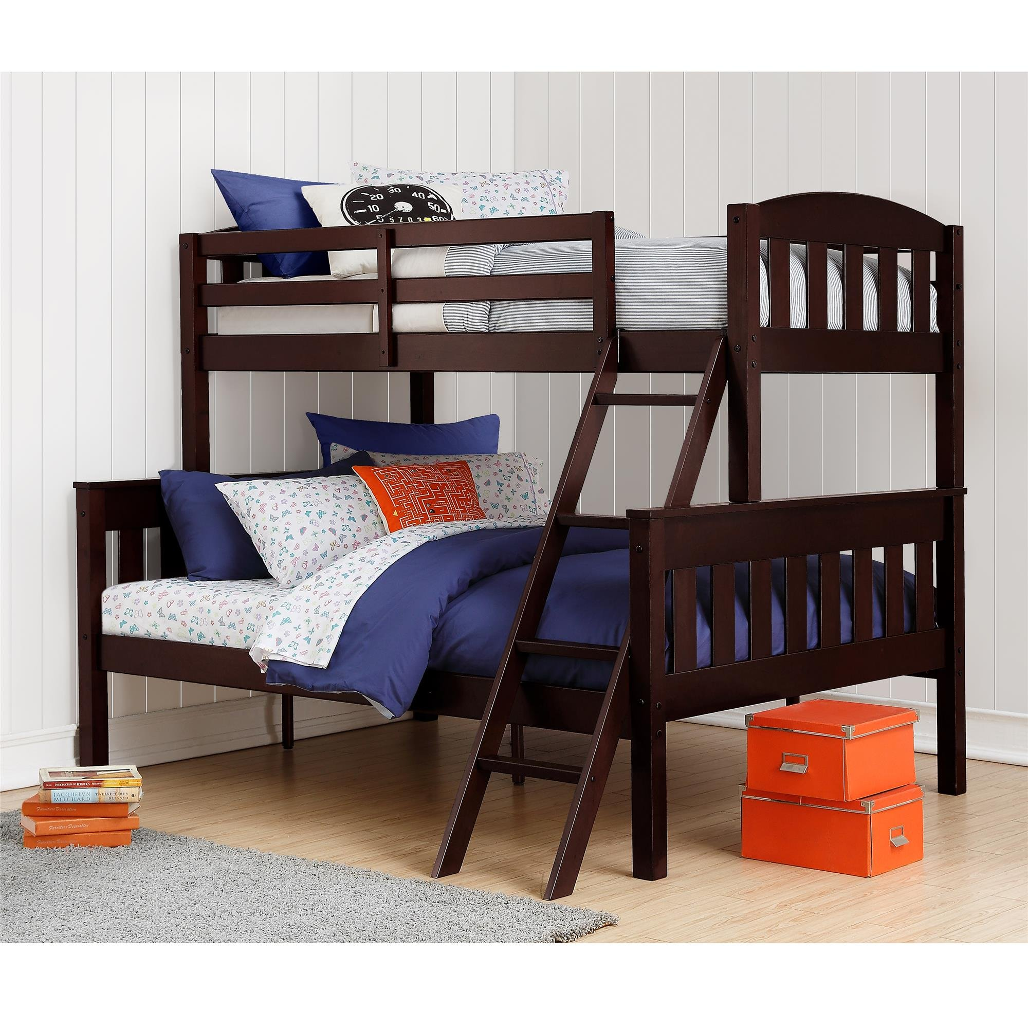 Dorel Living Airlie Solid Wood Bunk Beds Twin Over Full with Ladder and Guard Rail, Espresso by Dorel Living