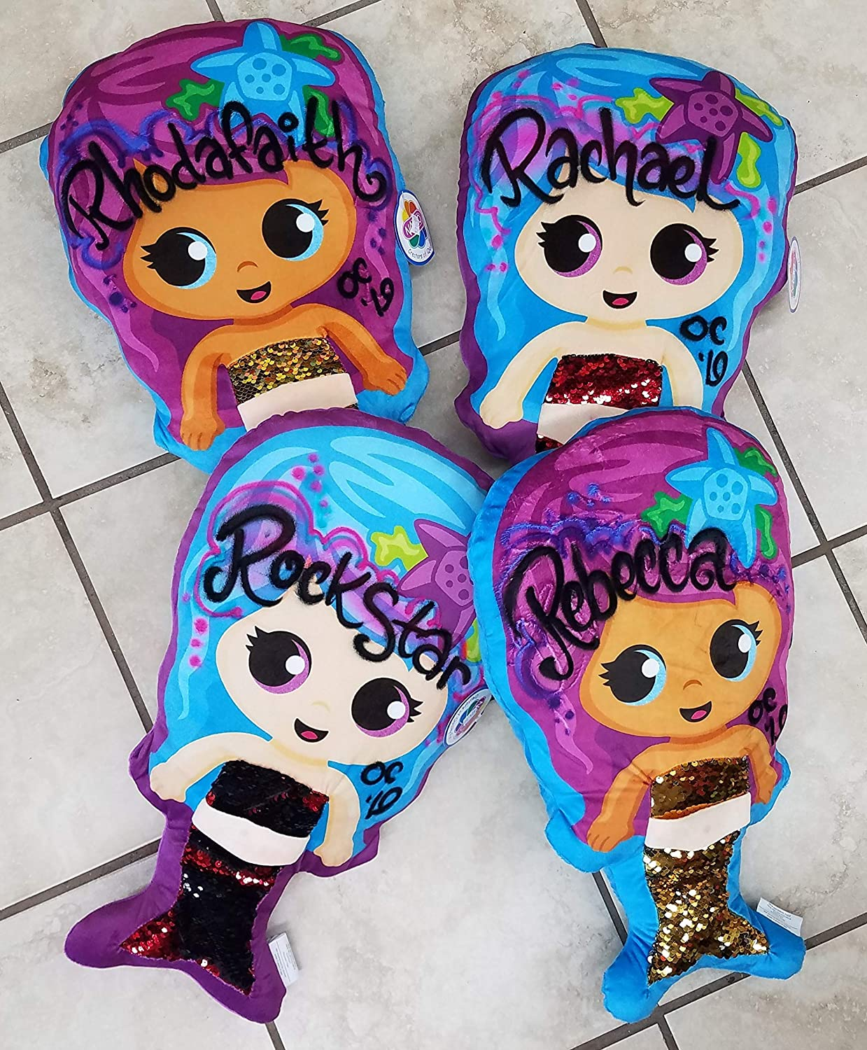 Personalized Mermaid Sequin Plush Stuffed Animal Custom Airbrushed Name Plushie