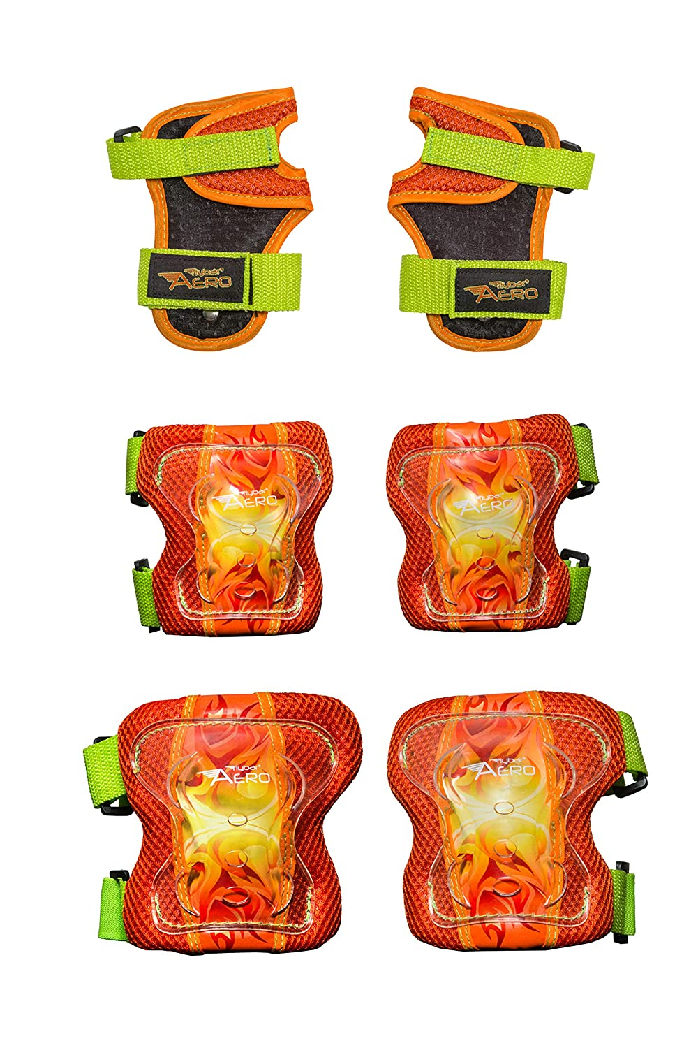 Flybar AERO Elbow, Knee and Wrist Guard Safety Set – Multi Sport Protection for Skateboarding, BMX, Pogoing, Inline Skating, Scooter Junior Size Ages 5 to 10