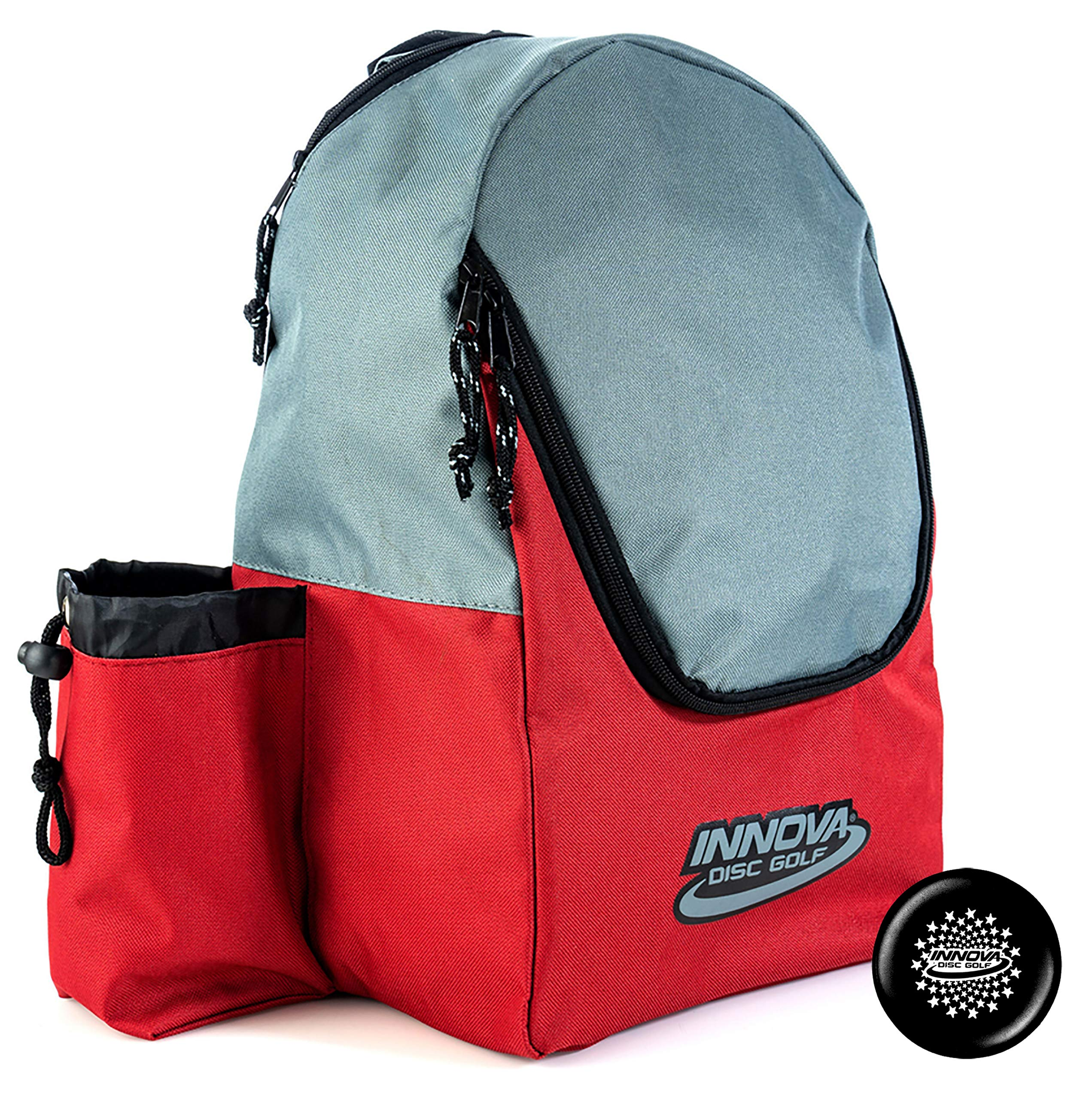 Innova Discover Pack Backpack Disc Golf Bag - Holds 15 Discs - Lightweight and Easy to Carry - Includes Innova Limited Edition Stars Mini Marker (Red/Gray) by Innova Discs