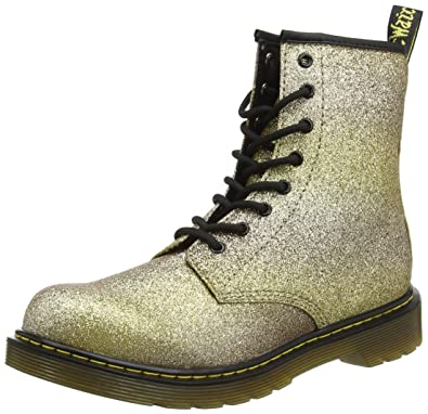 c0b3f84352613 Dr. Martens Girls Ladies Delaney Youth Glitter Gold Multi Ankle Boots Size 4
