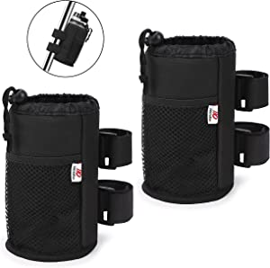 """ZIDIYORUO Bike Cup Holders, Fit for Stroller, Bike, Golf Cart, Wheelchair, One Large Bottle Pocket and Two Net Pockets, 1.5"""" to 2.4"""" Bar Cup Holder with Multi-Function Design, Black, 2pcs."""