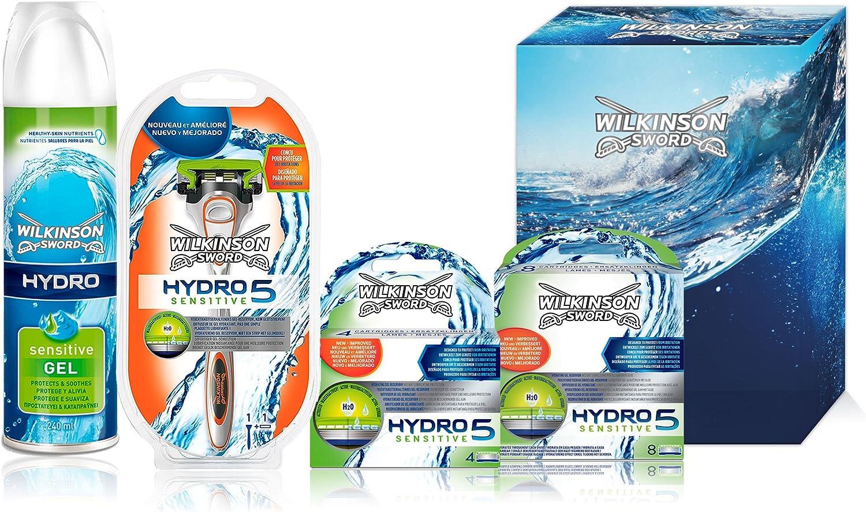 Wilkinson Sword Hydro 5 Pack Familiar - Kit Anual de Máquina de Afeitar Hydro 5 Sensitive, 12 Recambios de Cuchillas, Gel de Afeitado Hydro 240 ml: Amazon.es: Salud y cuidado personal