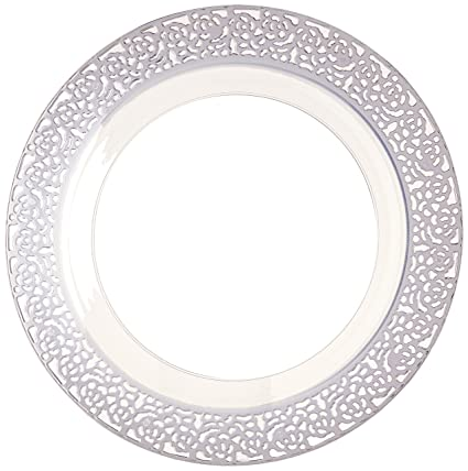 "Inspiration Clear with Silver Lace Rim 10.25"" Heavyweight Plastic Dinner Plates ..."