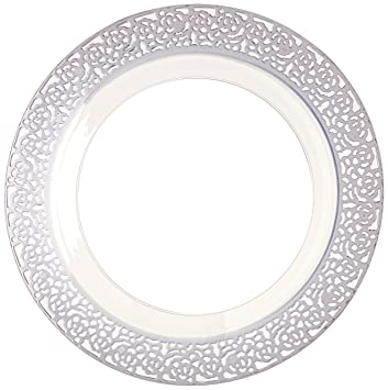 Charming Inspiration Clear With Silver Lace Rim 10.25u0026quot; Heavyweight Plastic  Dinner Plates ...