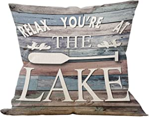 Mancheng-zi Relax You're at The Lake Throw Pillow Case, Gift for a Friends Lake House, Lake Paddle Decor, 18 x 18 Inch Decorative Cotton Linen Cushion Cover for Sofa Couch Bed Lake House
