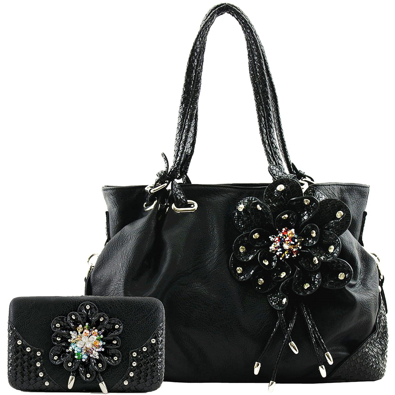 Cowgirl Trendy Western Spring Flower Woven Braided Leather Purse Handbag Shoulder Bag Wallet Set Black