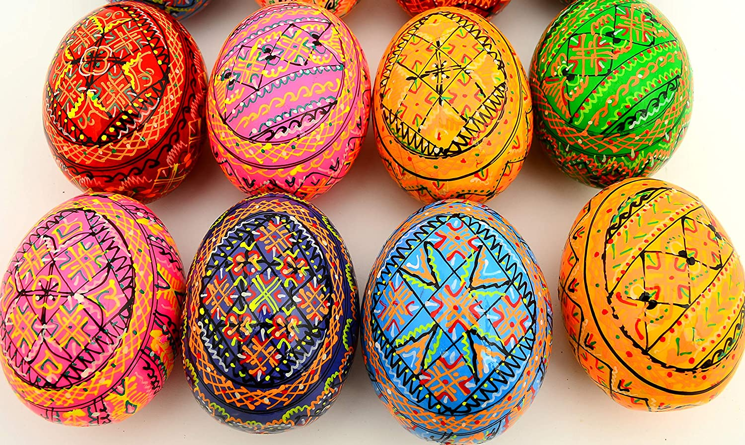 Ships from US Made in Ukraine. Set of 12 Easter Painted Eggs Wooden Ukrainian Pysanky Pysanka